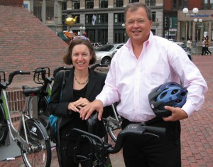 Nicole Freedman and David White at the Government Center Hubway Station in Boston