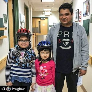 Children wearing bicycle helmets at the Windsor Street Care Center in Cambridge, Massachusetts