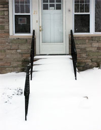 Snow at doorway