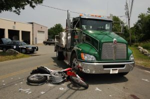 A truck and a motorcycle after a fatal accident in West Bridgewater, Massachusetts