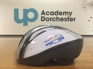Bicycle helmet donated to UP Academy by Breakstone, White & Gluck and its Project KidSafe campaign.