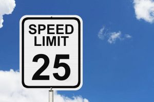 25 mph speed limit sign in Boston, Massachusetts