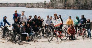 High school students on bikes