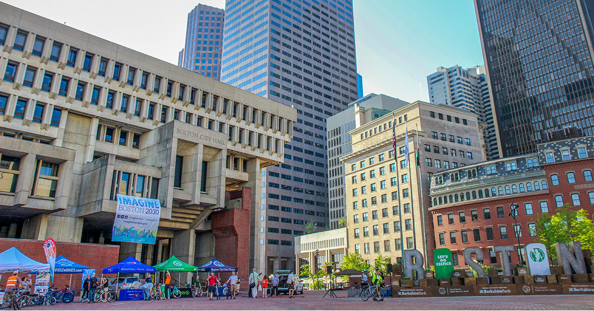 Boston's National Bike to Work Festival at Boston City Hall Plaza in May 2017.