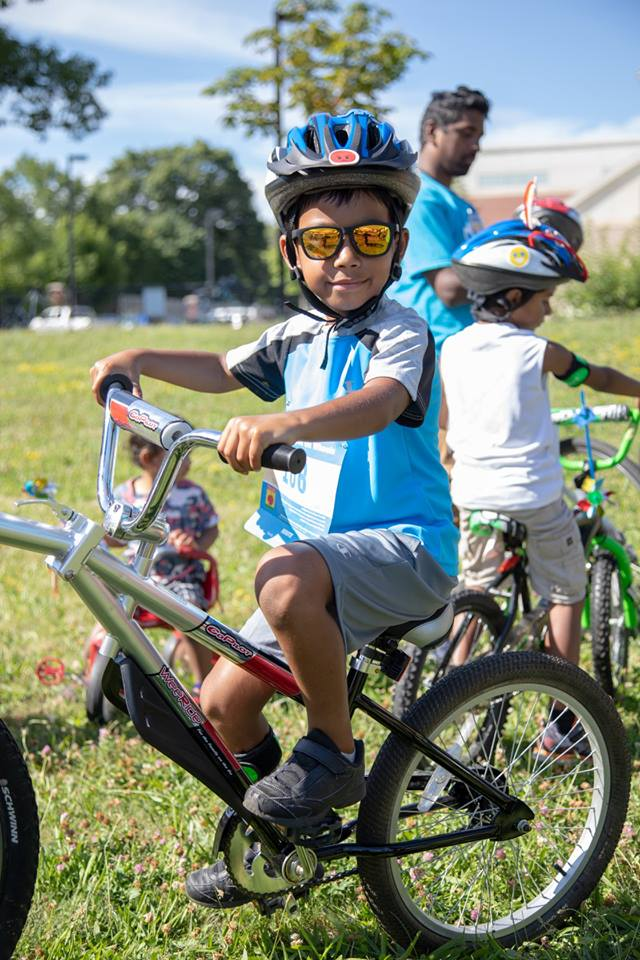 Little boy riding bike at Mattapan on Wheels 2018