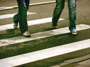 People walking in a crosswalk