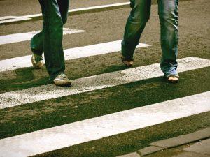People walking in a crosswalk