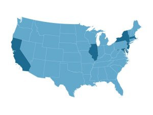 Map of U.S. states considering concussion prevention legislation that would ban children younger than 12 or in seventh grade or younger from playing tackle football.