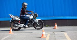 motorcyclist in training area