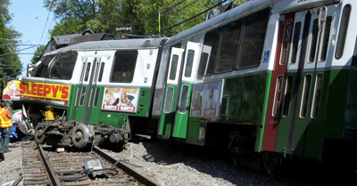 Derailed MBTA green line trolley in Newton, Massachusetts 2008