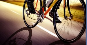 Bicyclist riding in Boston