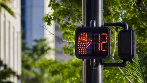 Pedestrian traffic signals in Massachusetts.