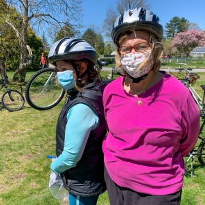 Women wearing Project KidSafe bicycle helmets at Basic Bike Maintenance Class at Dedham Public Library.