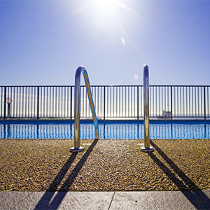 Pool fencing and pool ladder.