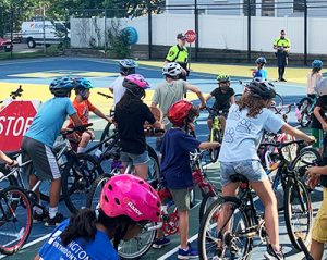 Children at the Arlington Police Bicycle Safety Day in August 2021